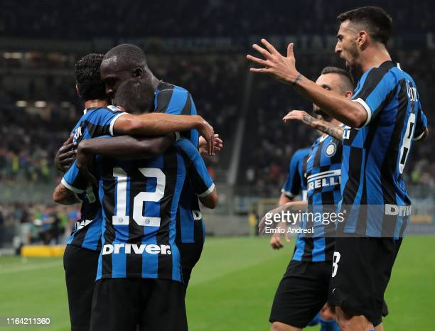 Stefano Sensi of FC Internazionale celebrates his goal with his team-mate Romelu Lukaku and Antonio Candreva of FC Internazionale during the Serie A...