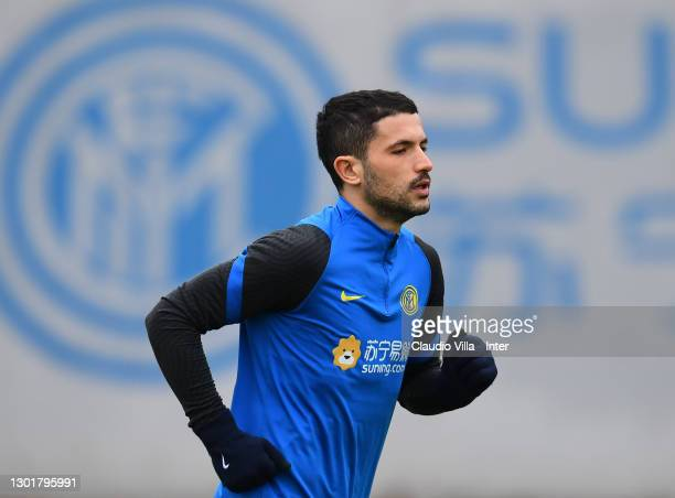 Stefano Sensi of FC Internazionale in action during a training session at Appiano Gentile on February 12, 2021 in Como, Italy.