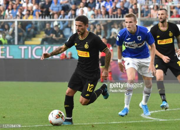 Stefano Sensi of FC Internazionale in action during the Serie A match between UC Sampdoria and FC Internazionale at Stadio Luigi Ferraris on...