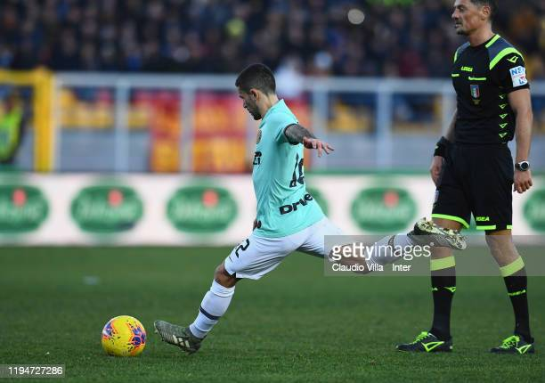 Stefano Sensi of FC Internazionale in action during the Serie A match between US Lecce and FC Internazionale at Stadio Via del Mare on January 19,...