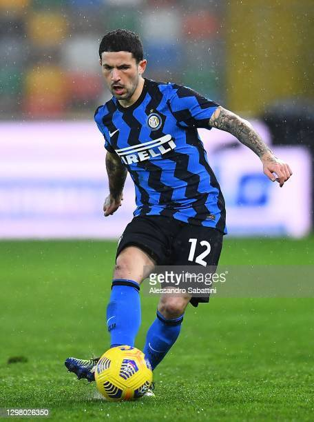 Stefano Sensi of FC Internazionale in action during the Serie A match between Udinese Calcio and FC Internazionale at Dacia Arena on January 23, 2021...