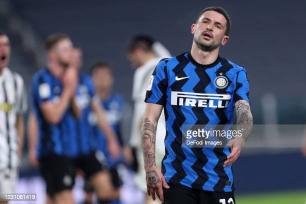 Stefano Sensi of FC Internazionale looks dejected during the Coppa Italia semi-final Juventus and FC Internazionale at Allianz Stadium on February 9,...