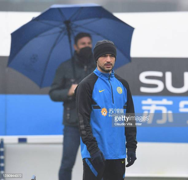 Stefano Sensi of FC Internazionale looks on during a training session at Appiano Gentile on February 3, 2021 in Como, Italy.