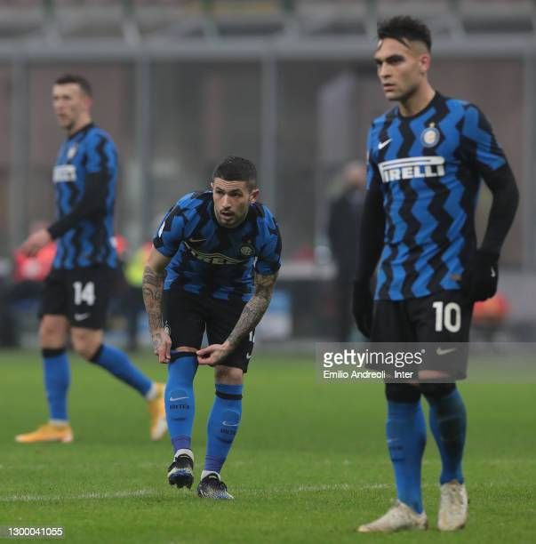 Stefano Sensi of FC Internazionale looks on during the Coppa Italia semi-final match between FC Internazionale and Juventus at Stadio Giuseppe Meazza...