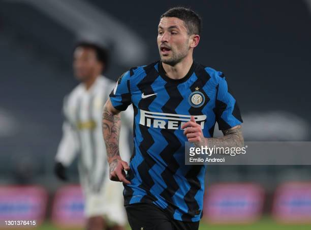 Stefano Sensi of FC Internazionale looks on during the Coppa Italia semi-final between Juventus and FC Internazionale at Allianz Stadium on February...