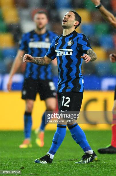 Stefano Sensi of FC Internazionale reacts during the Serie A match between Udinese Calcio and FC Internazionale at Dacia Arena on January 23, 2021 in...