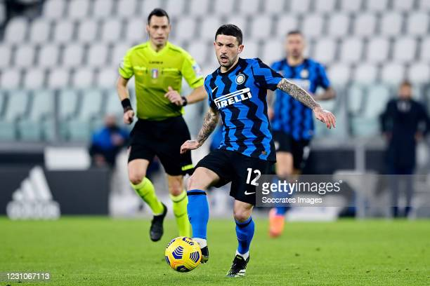 Stefano Sensi of Internazionale during the Italian Super Cup match between Juventus v Internazionale at the Allianz Stadium on February 9, 2021 in...