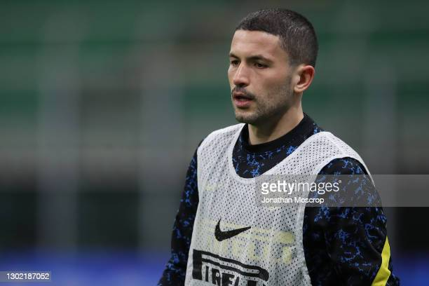 Stefano Sensi of Internazionale during the warm up prior to the Serie A match between FC Internazionale and SS Lazio at Stadio Giuseppe Meazza on...