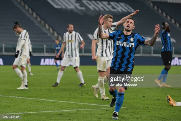 Stefano Sensi of Internazionale reacts after missing a chance to score during the Coppa Italia semi-final between Juventus and FC Internazionale at...