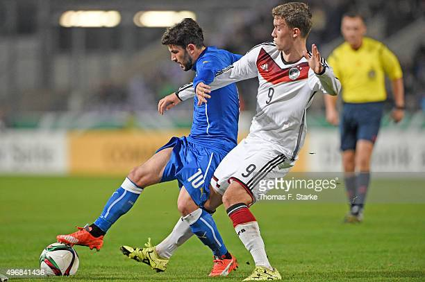 Stefano Sensi of Italy and Gian Luca Waldschmidt of Germany fight for the ball during the U20 FourNationsTournament match between Germany and Italy...