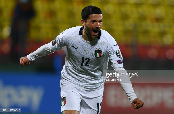 Stefano Sensi of Italy celebrates after scoring the opening goal during the FIFA World Cup 2022 Qatar qualifying match between Lithuania and Italy on...