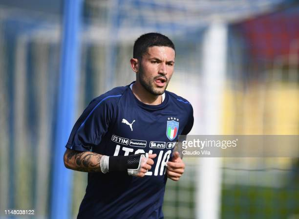 Stefano Sensi of Italy in action during a training session at Centro Tecnico Federale di Coverciano on June 4 2019 in Florence Italy