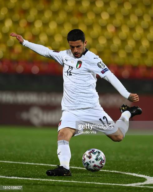 Stefano Sensi of Italy scores the opening goal during the FIFA World Cup 2022 Qatar qualifying match between Lithuania and Italy on March 31, 2021 in...