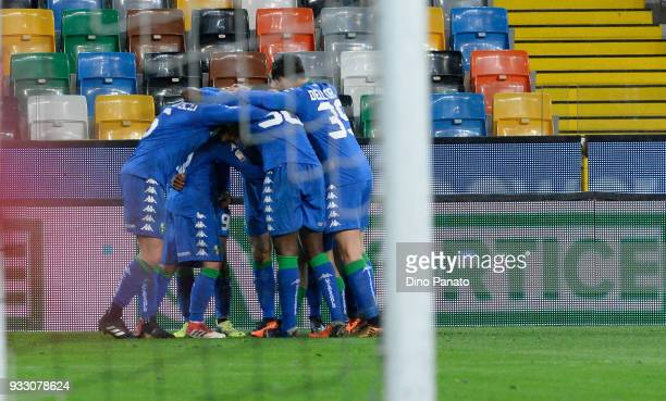 Stefano Sensi of Sassuolo celebrates after scoring his team's secomnd goal during the serie A match between Udinese Calcio and US Sassuolo at Stadio...