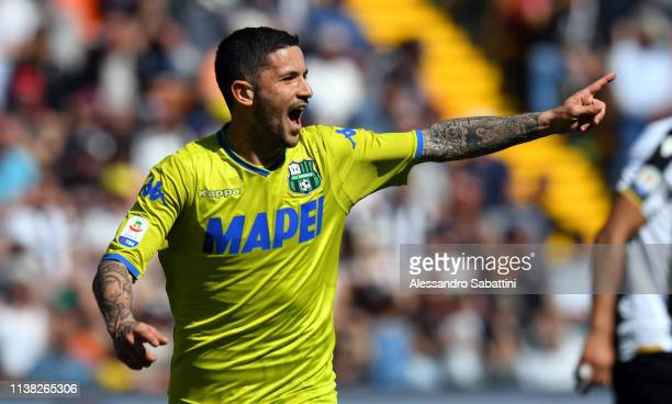 Stefano Sensi of Sassuolo celebrates after scoring the opening goal during the Serie A match between Udinese and US Sassuolo at Stadio Friuli on...