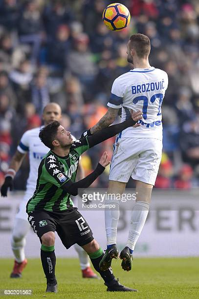 Stefano Sensi of US Sassuolo and Marcelo Brozovic compete for the ball during the Serie A football match between US Sassuolo and FC Internazionale FC...