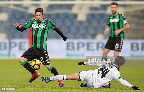 Stefano Sensi of US Sassuolo Calcio competes for the ball with Mattia Vitale of AC Cesena during the TIM Cup match between US Sassuolo and AC Cesena...