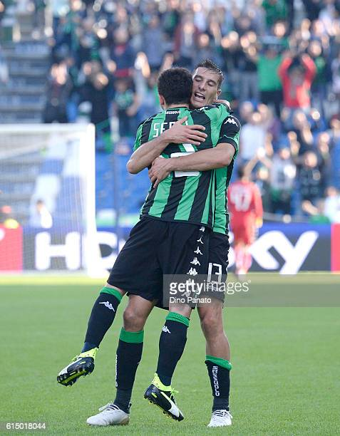 Stefano Sensi of US Sassuolo celebrates after scoring his team's first goal during the Serie A match between US Sassuolo and FC Crotone at Mapei...