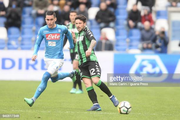 Stefano Sensi of US Sassuolo in action during the serie A match between US Sassuolo and SSC Napoli at Mapei Stadium Citta' del Tricolore on March 31...