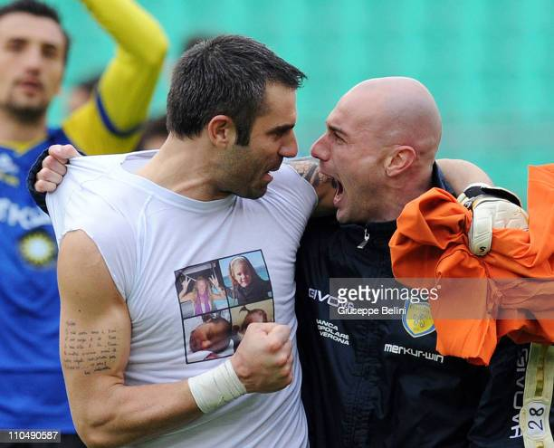 Stefano Sorrentino and Roberto Guarna of Chievo Verona celebrate victory after the Serie A match between AS Bari and AC Chievo Verona at Stadio San...