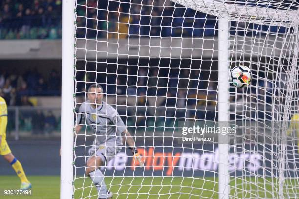 Stefano Sorrentino goalkeeper of Chievo receives Caracciolo goal if Verona during the serie A match between Hellas Verona FC and AC Chievo Verona at...
