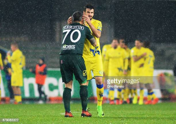Stefano Sorrentino goalkeeper of Chievo Verona celebrates after Inglese's goal during the Serie A match between AC Chievo Verona and Spal at Stadio...
