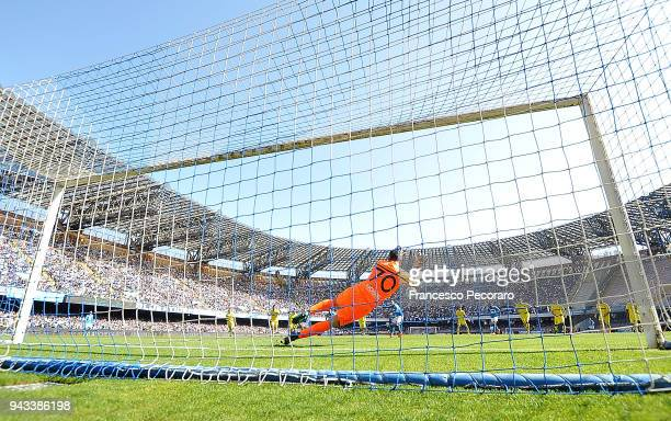 Stefano Sorrentino of AC Chievo Verona saves the penalty kick of Dries Mertens of SSC Napoli during the serie A match between SSC Napoli and AC...