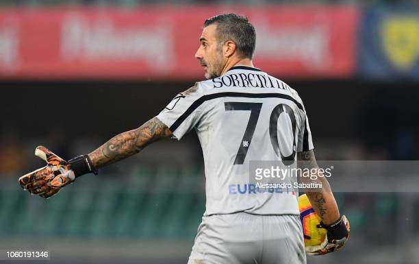 Stefano Sorrentino of Chievo Verona in action during the Serie A match between Chievo Verona and Bologna FC at Stadio Marc'Antonio Bentegodi on...