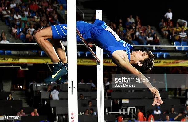 Stefano Sottile of Italy in action during the Boys High Jump Final on day four of the IAAF World Youth Championships Cali 2015 on July 18 2015 at the...