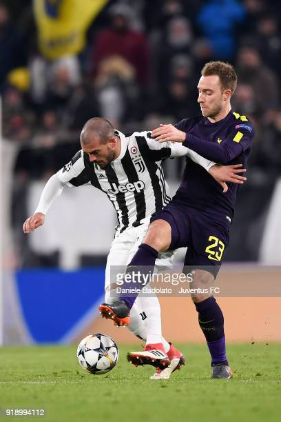 Stefano Sturaro and Christian Eriksen during the UEFA Champions League Round of 16 First Leg match between Juventus and Tottenham Hotspur at Allianz...
