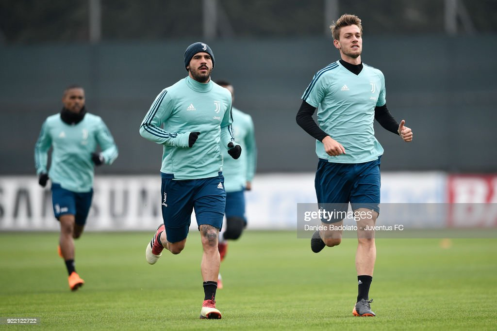 Stefano Sturaro and Daniele Rugani at Juventus Center Vinovo on February 21, 2018 in Vinovo, Italy.