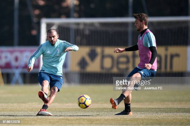 Stefano Sturaro and Daniele Rugani during a Juventus training session at Juventus Center Vinovo on February 15 2018 in Vinovo Italy