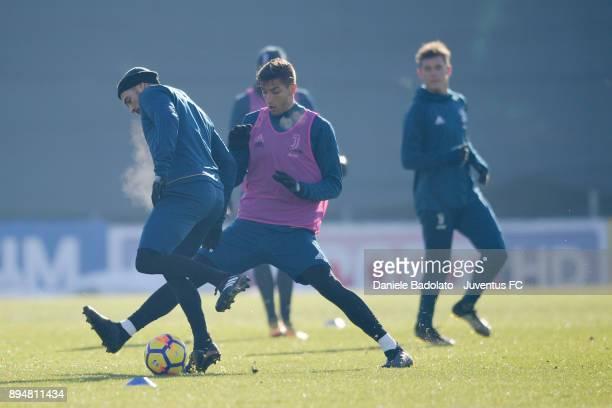 Stefano Sturaro and Rodrigo Bentancur during a Juventus Training Session at Juventus Center Vinovo on December 18 2017 in Vinovo Italy