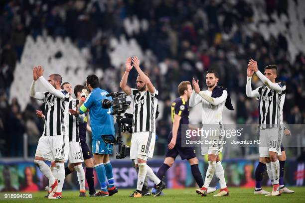 Stefano Sturaro Gonzalo Higuain Mattia De Sciglio and Rodrigo Bentancur during the UEFA Champions League Round of 16 First Leg match between Juventus...