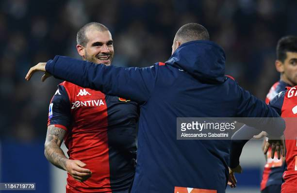 Stefano Sturaro of Genoa CFC celebrates after scoring the 11 goal during the Serie A match between SPAL and Genoa CFC at Stadio Paolo Mazza on...