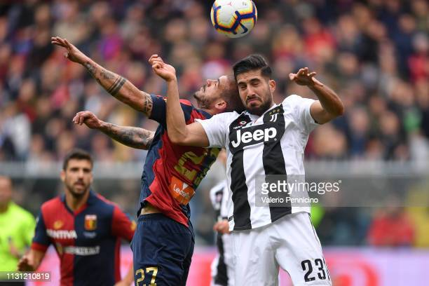 Stefano Sturaro of Genoa CFC clashes with Emre Can of Juventus during the Serie A match between Genoa CFC and Juventus at Stadio Luigi Ferraris on...