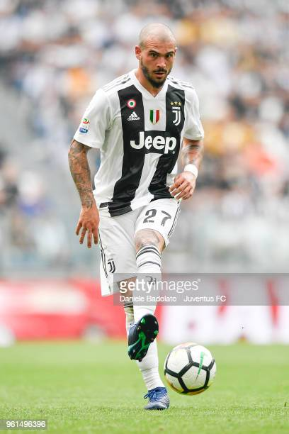Stefano Sturaro of Juventus in action during the serie A match between Juventus and Hellas Verona FC at Allianz Stadium on May 19 2018 in Turin Italy