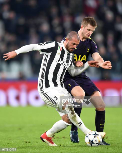 Stefano Sturaro of Juventus is challenged by Eric Dier of Tottenham Hotspur during the UEFA Champions League Round of 16 First Leg match between...