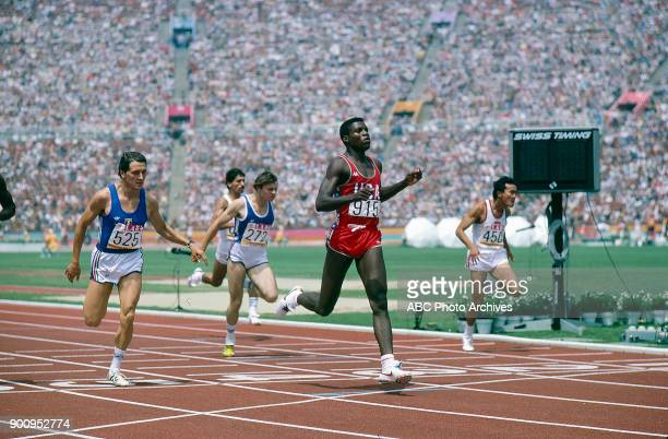 Stefano Tilli Patrick Barre Carl Lewis Mohamed Purnomo Men's Track 200 metres competition Memorial Coliseum at the 1984 Summer Olympics August 6 1984