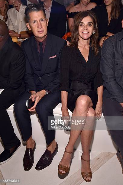 Stefano Tonchi and Carine Roitfeld attend Ralph Lauren Spring 2016 during New York Fashion Week The Shows at Skylight Clarkson Sq on September 17...