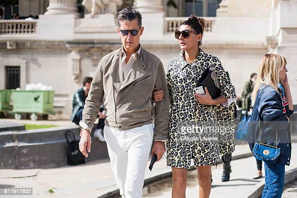 Stefano Tonchi and Giovanna Battaglia after the Mugler show on day 5 of Paris Womens Fashion Week Spring/Summer 2017Êon September 30 2016 in Paris...