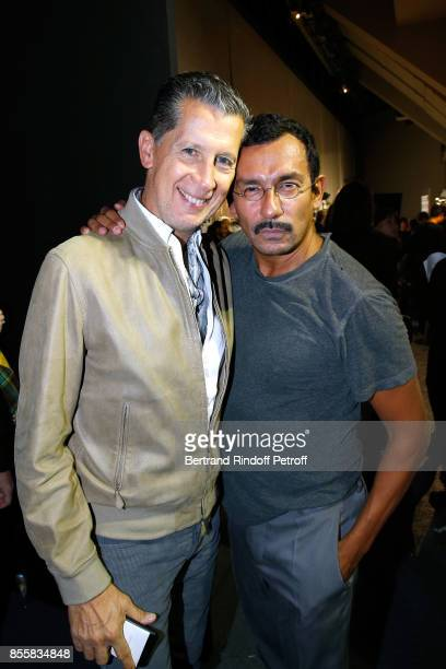 Stefano Tonchi and stylist Haider Ackermann pose Backstage after the Haider Ackermann show as part of the Paris Fashion Week Womenswear Spring/Summer...