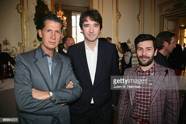 Stefano Tonchi Antoine Arnault and Alexis Mabille attend the cocktail reception for W Magazine's editorinchief at the Hotel D'Evreux on May 19 2010...