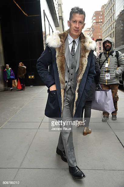Stefano Tonchi is seen leaving the Polo Ralph Lauren presentation during Fall 2016 New York Fashion Week on February 12 2016 in New York City