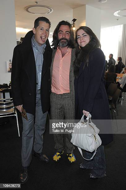 Stefano Tonchi Kean Etro and Alice Etro attend the Etro fashion show as part of Milan Fashion Week Womenswear Autumn/Winter 2011 on February 25 2011...