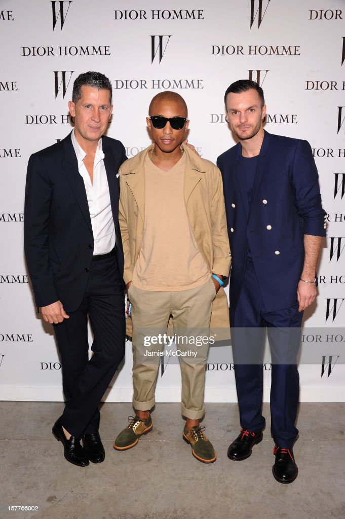 Stefano Tonchi, Pharrell Williams, and Dior Homme Creative Director Kris Van Assche attend the World Premiere of Bruce Weber's Film 'CAN I MAKE THE MUSIC FLY' hosted by DIOR Homme's Kris Van Assche, Bruce Weber, & W Magazine's Stefano Tonchi in Celebration of The New Dior Homme Miami Boutique at The Moore Building on December 5, 2012 in Miami, Florida.