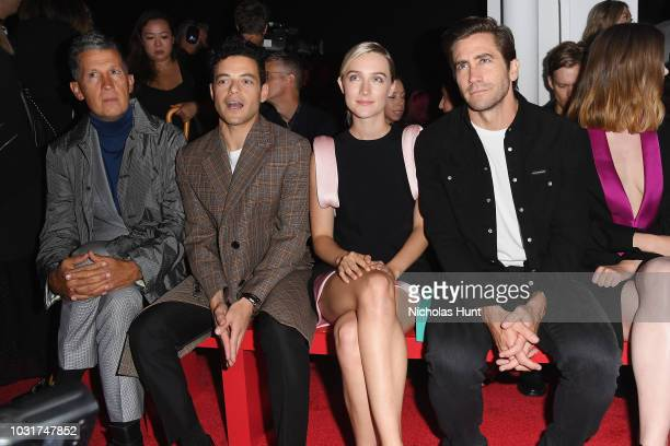 Stefano Tonchi Rami Malek Saoirse Ronan and Jake Gyllenhaal attend the Calvin Klein Collection front Row during New York Fashion Week at New York...