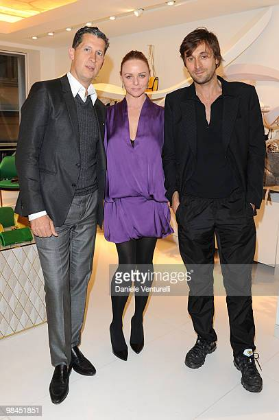 Stefano Tonchi Stella McCartney and Francesco Vezzoli attend the Stella McCartney flagship store opening party on April 14 2010 in Milan Italy