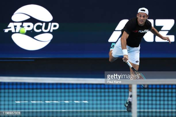Stefano Travaglia of Italy practices ahead of the 2020 ATP Cup Group Stage at RAC Arena on January 01 2020 in Perth Australia