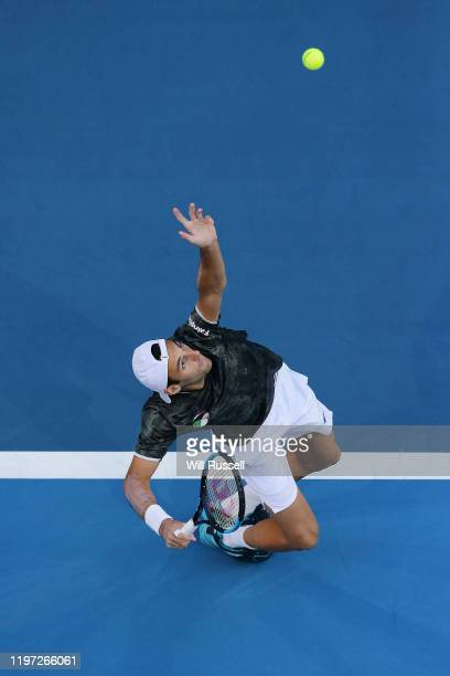 Stefano Travaglia of Italy serves to Karen Khachanov of Russia during day one of the 2020 ATP Cup Group Stage at RAC Arena on January 03 2020 in...